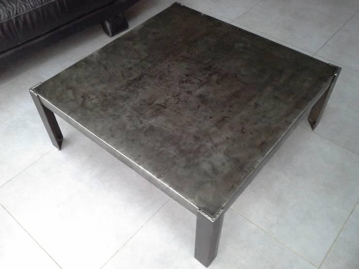 Meuble industriel table basse acier par m d co industriel for Meuble acier industriel