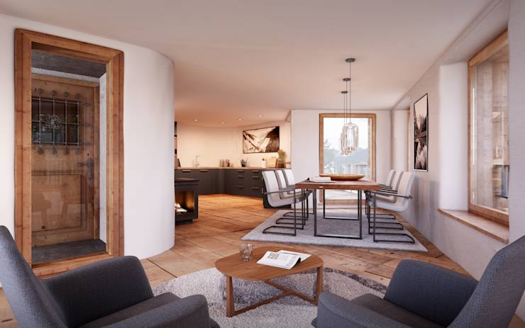 Comedores de estilo translation missing: ve.style.comedores.rustico por von Mann Architektur GmbH