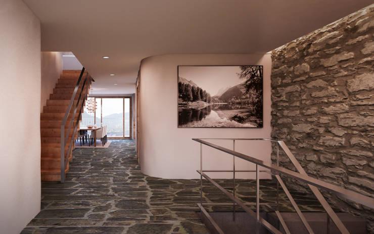 Pasillos, vestíbulos y escaleras de estilo translation missing: ve.style.pasillos-vestíbulos-y-escaleras.rustico por von Mann Architektur GmbH