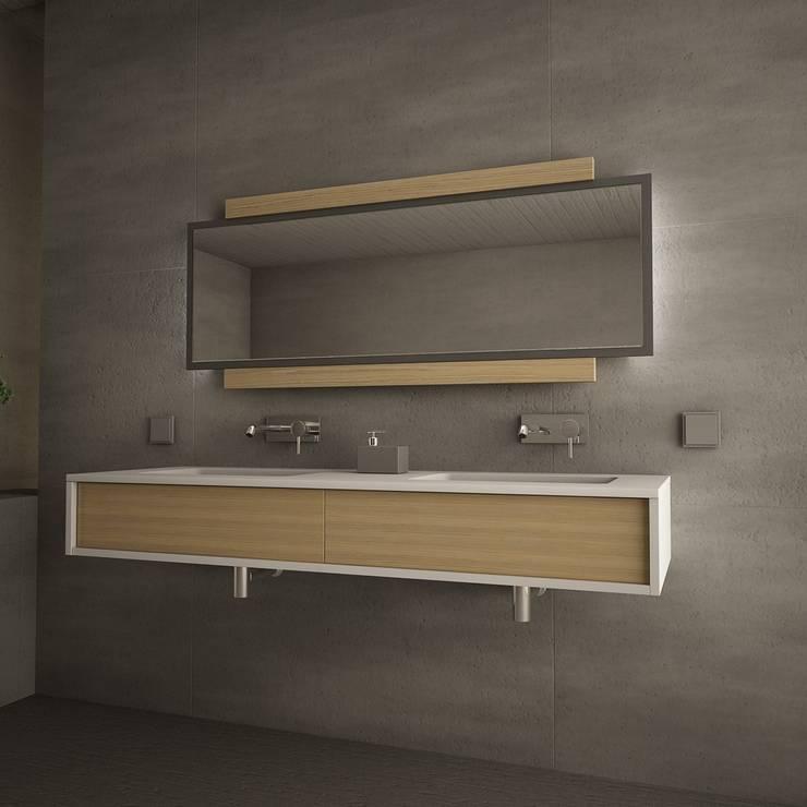 Il bagno moderno con lo specchio contenitore - Specchio stile industriale ...