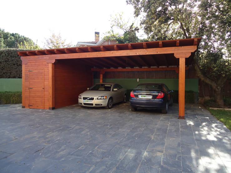Garajes de madera de pergomadera p rgolas y porches de - Pergola para coche ...