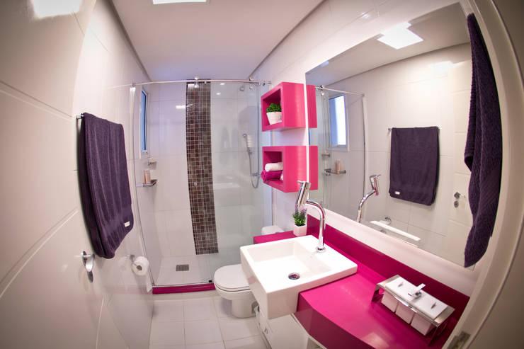 10 exemplos de pastilhas para banheiros # Banheiro Rosa Simples