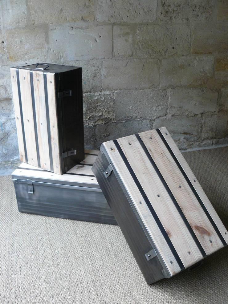 cantine ou malle m tallique industrielle table basse par. Black Bedroom Furniture Sets. Home Design Ideas