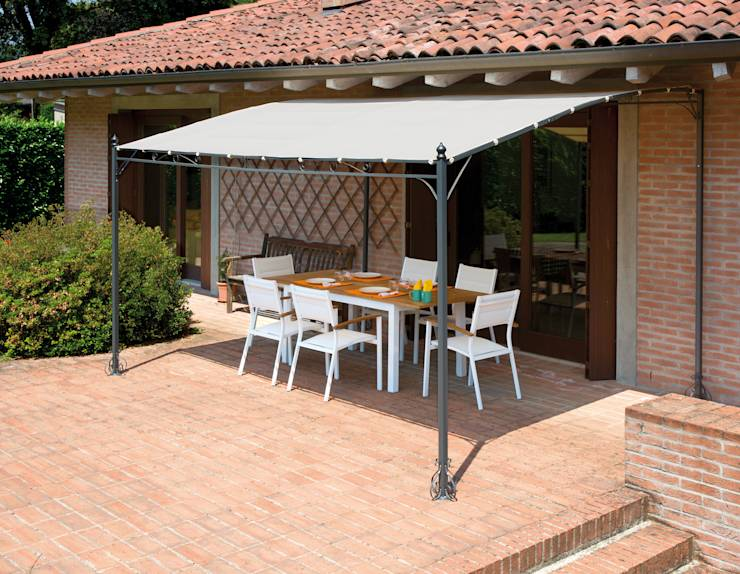 10 toldos espectaculares para jardines y terrazas - Pergola de pared ...