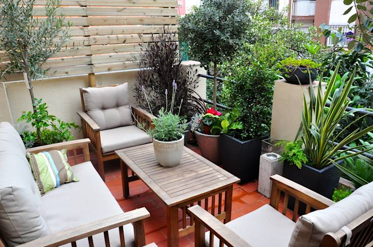 19 ideas para tener un jard n en el balc n - Muebles terraza valencia ...