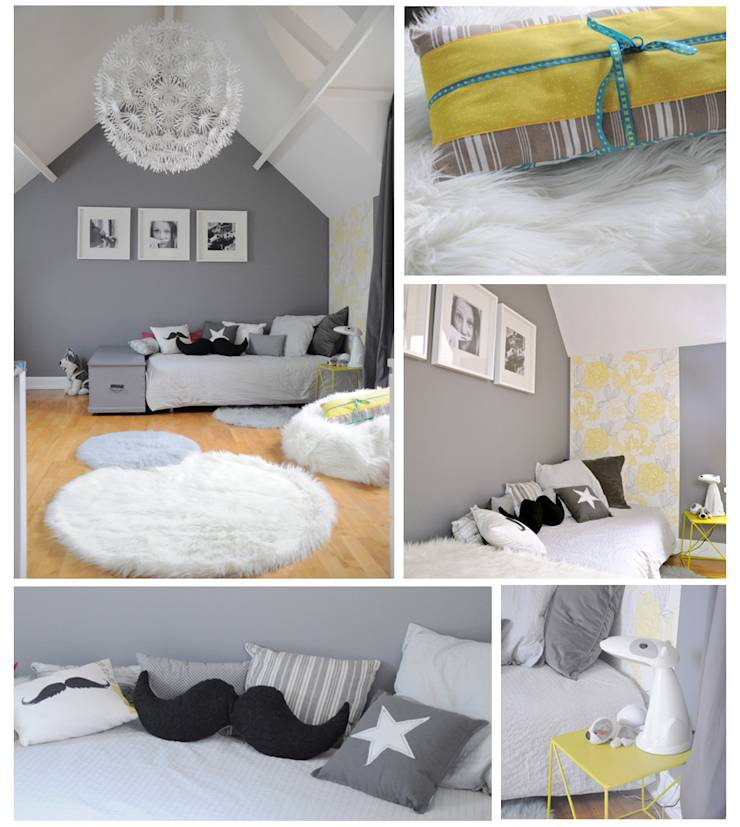 Chambre fille grise blanche for Chambre grise et blanche