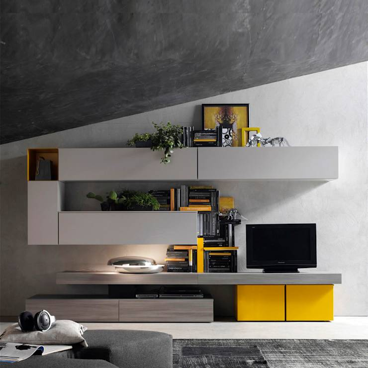 Tv media units by my italian living homify for Modern living room yellow
