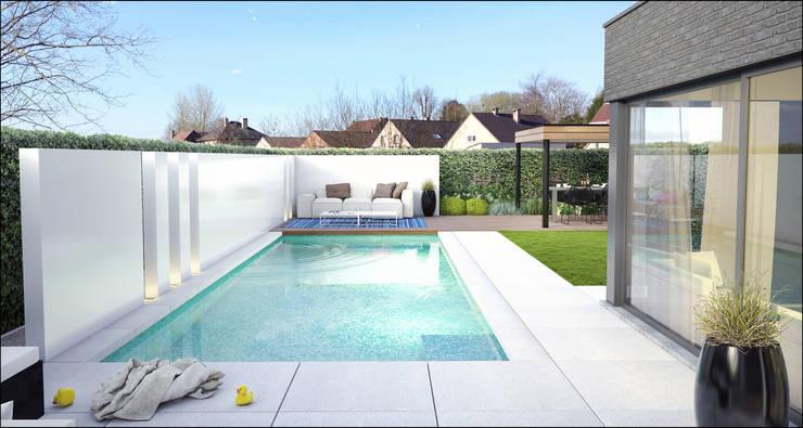 3d tuinontwerpen van loungetuinen door tuinarchitectengroep eco homify - Overdekt terras in aluminium ...