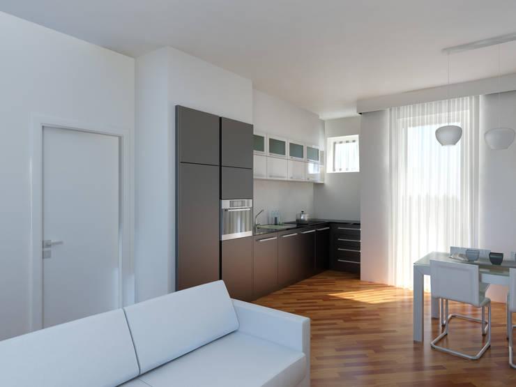 Rendering di Soggiorno Cucina e Camere: Cucina in stile in stile ...