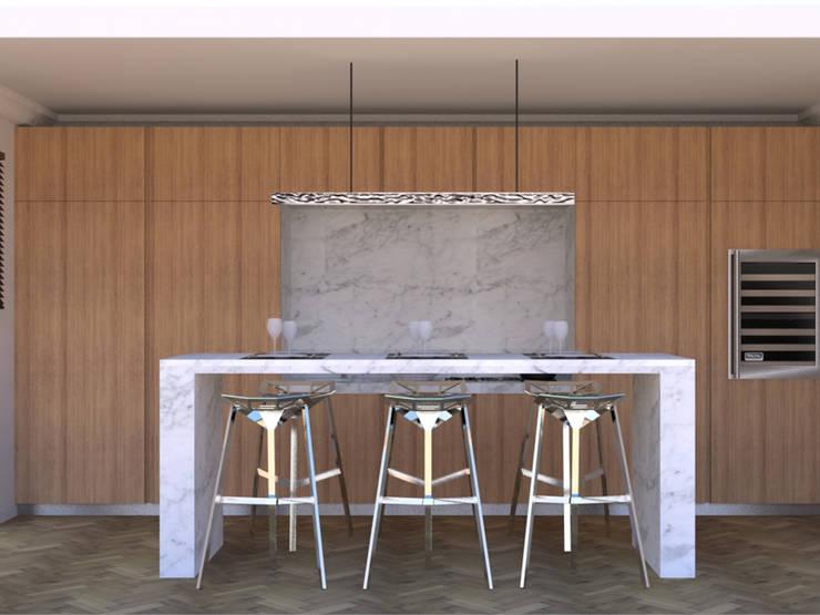 Cuisine moderne dans un appartement haussmannien di Xavier Lemoine
