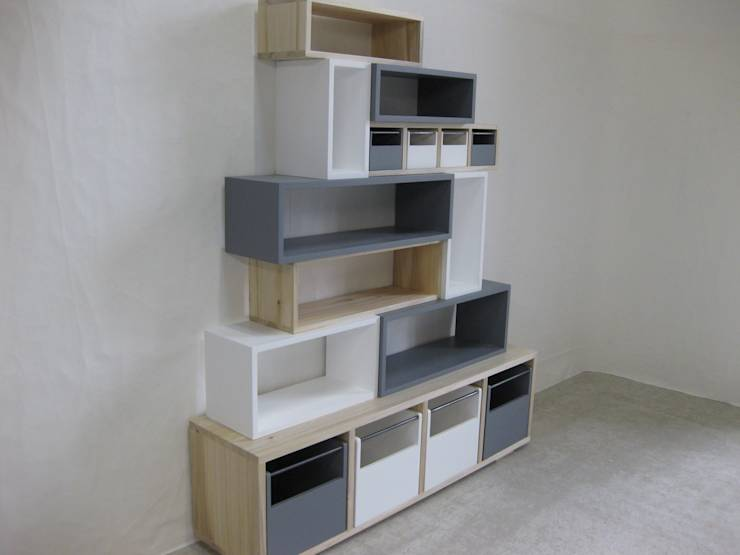 biblioth que design en bois massif color e m tal par lartelier homify. Black Bedroom Furniture Sets. Home Design Ideas