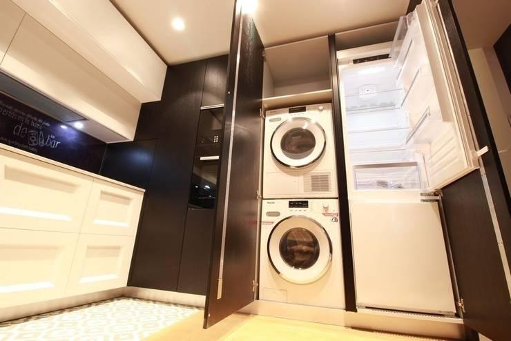 Ideas para ocultar la zona de lavado en la cocina o en el ba o - Lavadora y secadora en columna ...