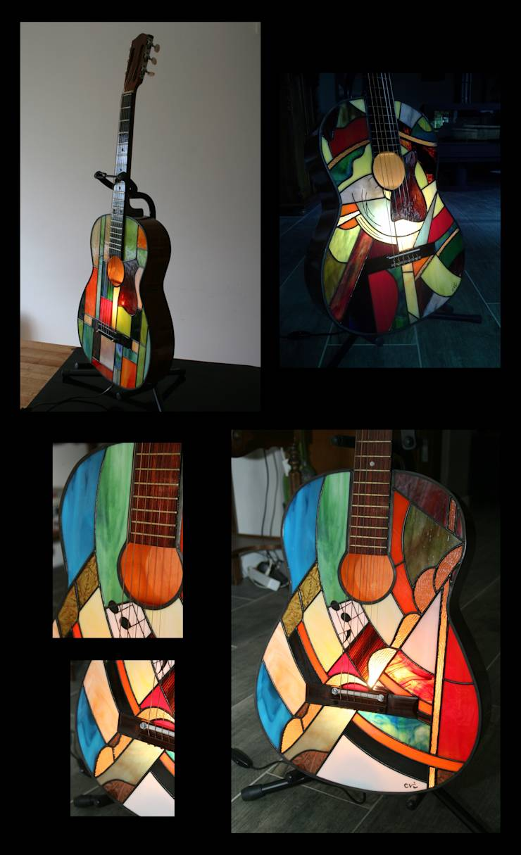 guitar lampe lampadaire applique luminaire en vitrail tiffany par lumi re et vitrail. Black Bedroom Furniture Sets. Home Design Ideas