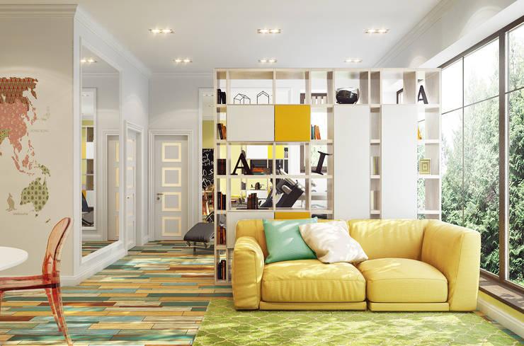 Дом Millennium-park, 420 м²: Гостиная в translation missing: ru.style.Гостиная.eklektichnyy. Автор - Bronx