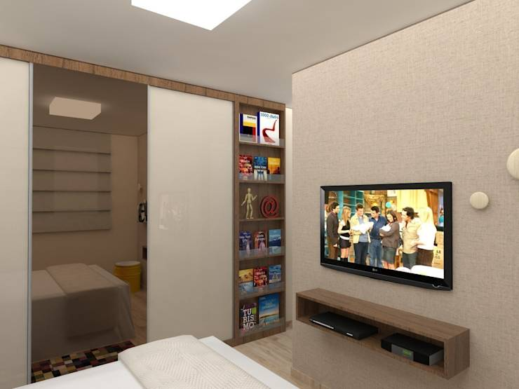Apartamento .TK_Projeto 3D: Quartos translation missing: br.style.quartos.moderno por Amis Arquitetura & Design