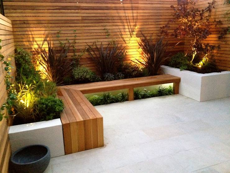 12 prachtige patio en tuin ideeen om van te watertanden - Bank terras hout ...