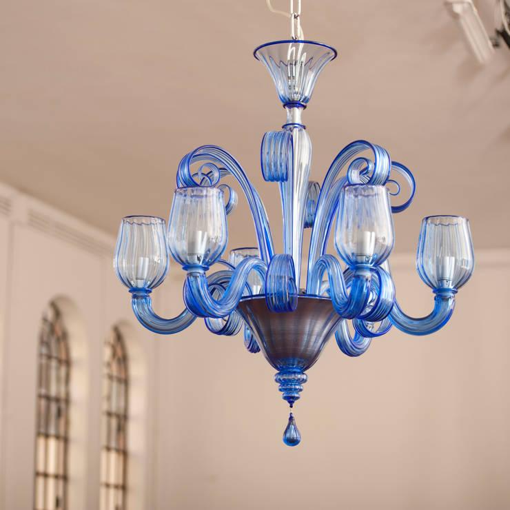 Lampadario in vetri di murano lampadario moderno blu for Murrina lampadari moderni