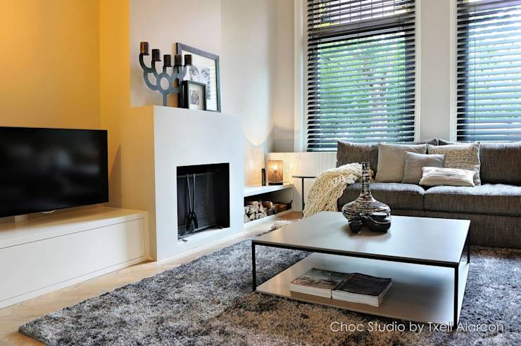 Kachel woonkamer schouw - Moderne woonkamer behang ...
