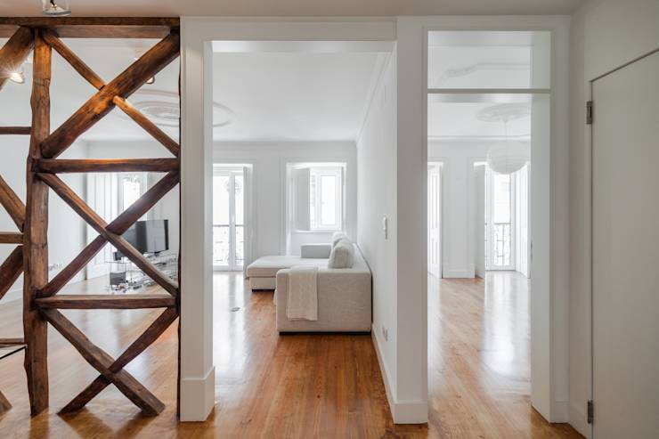 ideias de interiores decoracao de interiores lda:Apartamento São Caetano: Salas de estar minimalistas por Vanessa