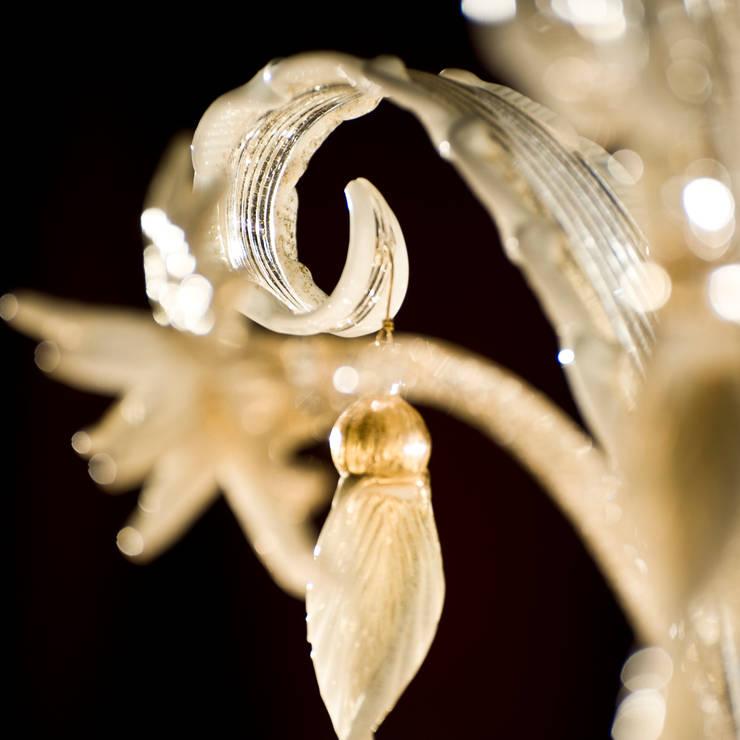 Lampadario in vetro di Murano - lampadario classico in vetro dorato e ...