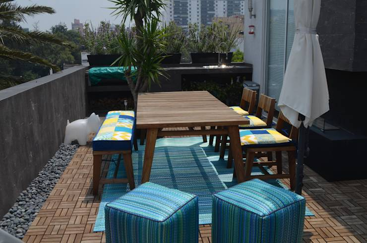 Proyecto para Terraza Departamento Oriana: Terrazas de estilo translation missing: mx.style.terrazas.eclectico por Peculiar