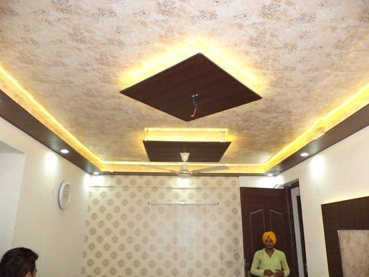 False Ceiling Design And Wallpaper By Mohali Interiors