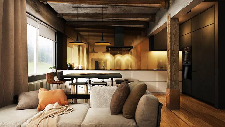 H4: Кухни в translation missing: ru.style.Кухни.loft. Автор - he.d creative group