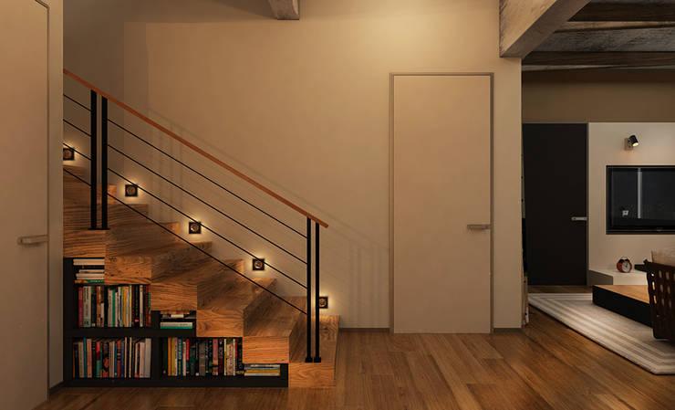 H4: Коридоры, прихожие, лестницы в translation missing: ru.style.Коридоры-прихожие-лестницы.loft. Автор - he.d creative group