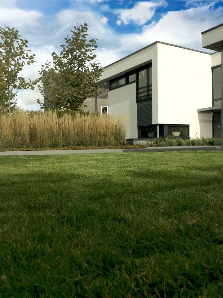 Moderne tuin met vijver en betonplaten door stoop tuinen for Strakke tuinen met siergrassen
