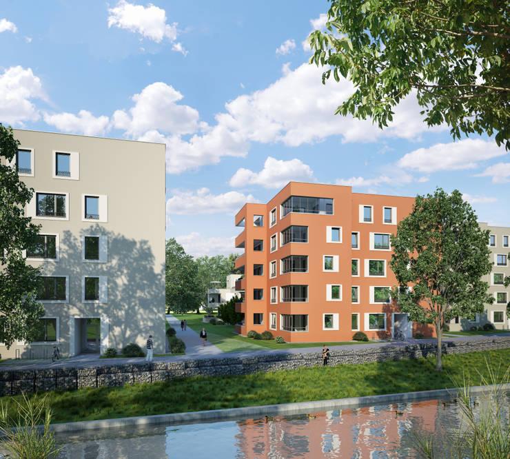Wohnanlage in augsburg moderne häuser von winhard 3d