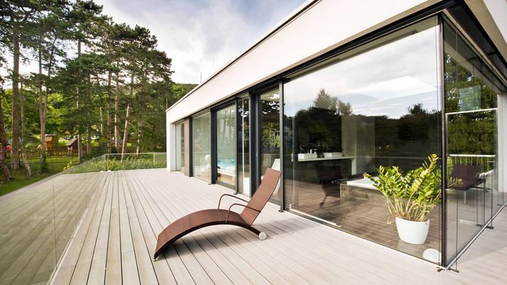 Een droom van glas een prachtige moderne woning - Terras van droom ...