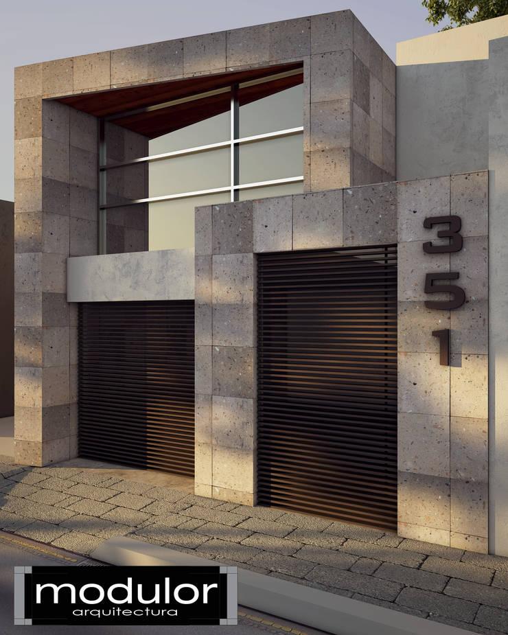 Fachada pina 351 de modulor arquitectura homify for Fachadas de casas modernas entre medianeras