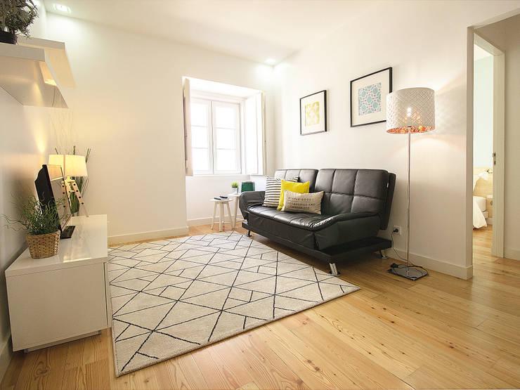 Sala De Estar Gloria Mercadolibre ~ Apartamento da Glória Salas de estar escandinavas por Homestories