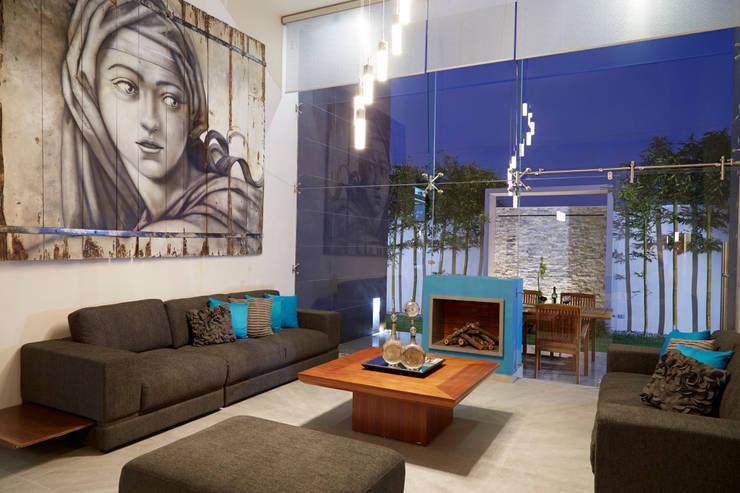 16 salas de doble altura modernas y espectaculares - Cuadros para salones minimalistas ...