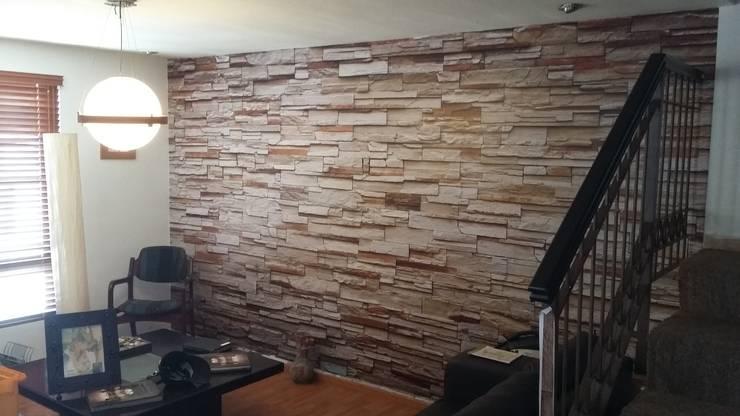 15 paredes con piedra laja para usar en casa for Paredes revestidas con ceramicas