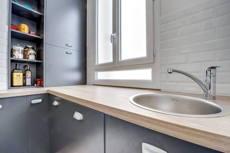 une petite cuisine de 6m sur mesure. Black Bedroom Furniture Sets. Home Design Ideas