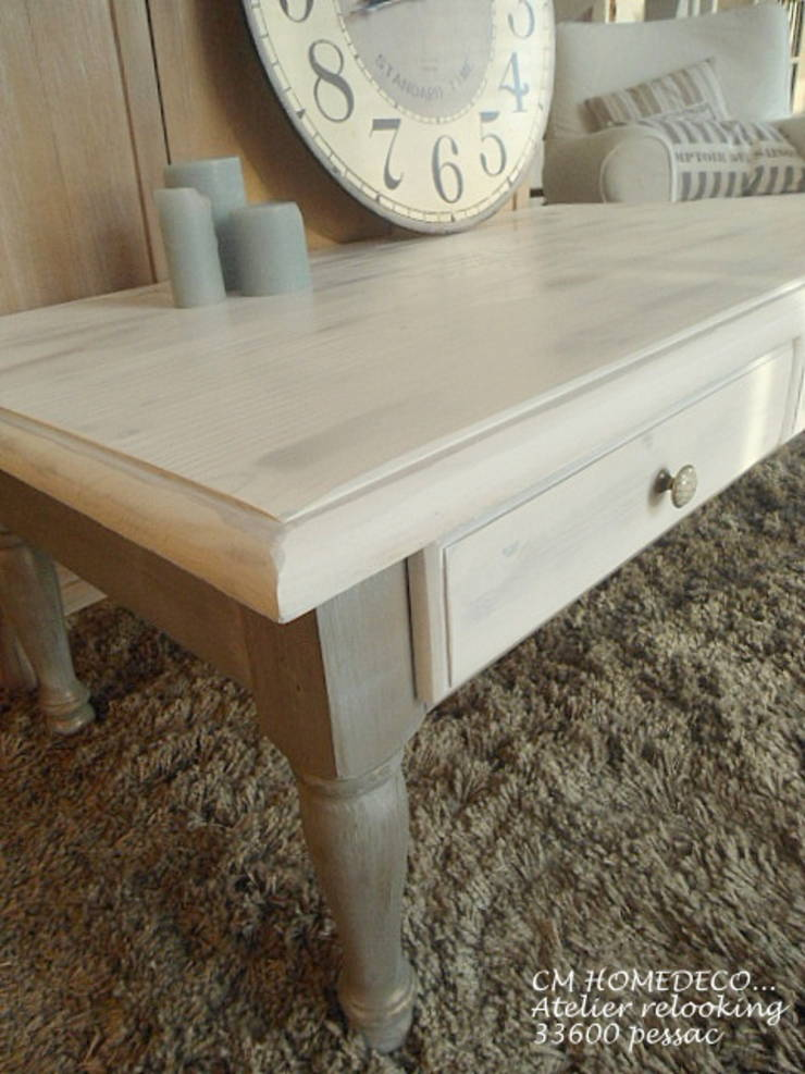 Table basse patin e d co bord de mer brocante relooking cm - Deco table bord de mer ...