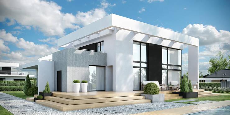 HomeKONCEPT-34- elewacja ogrodowa: styl nowoczesne, w kategorii Domy zaprojektowany przez HomeKONCEPT | Projekty Domów Nowoczesnych