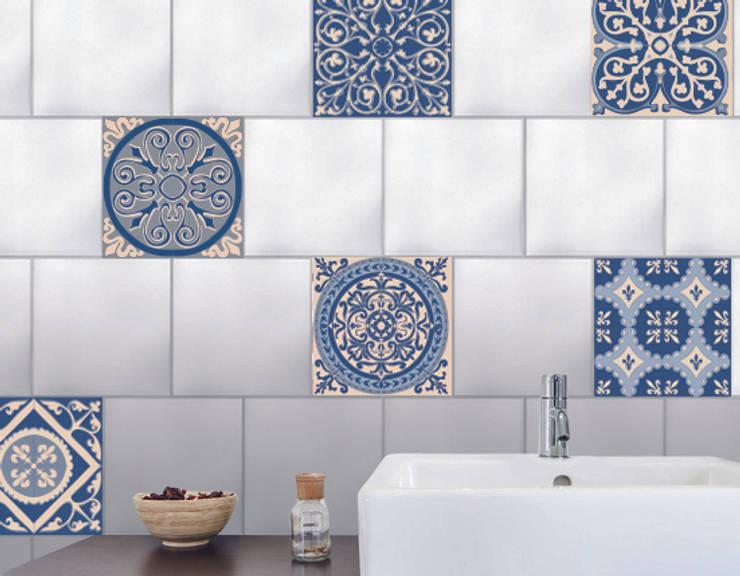 Carrelage de salle de bain imitation carreaux de ciment bleu par wall sweet - Faux carrelage adhesif ...