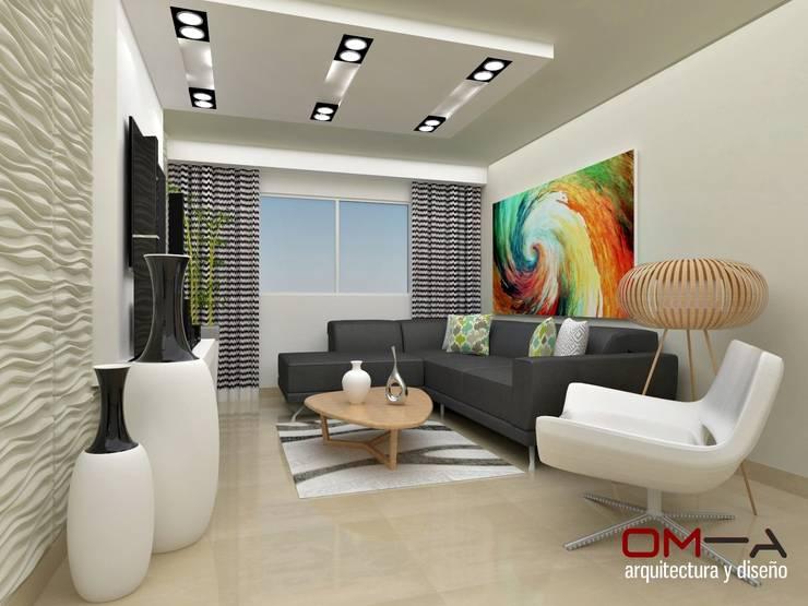 Salas / recibidores de estilo moderno por om-a arquitectura y diseño
