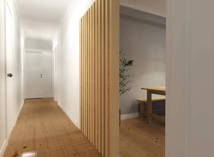 scandinavian Corridor, hallway & stairs by Homestories
