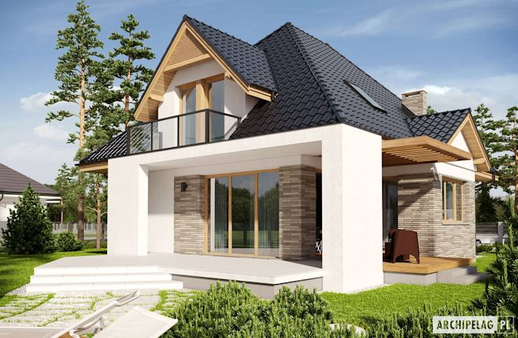 PROJEKT DOMU AMIRA G1 - stylowa elegancja i maksimum wygody! : styl nowoczesne, w kategorii Domy zaprojektowany przez Pracownia Projektowa ARCHIPELAG