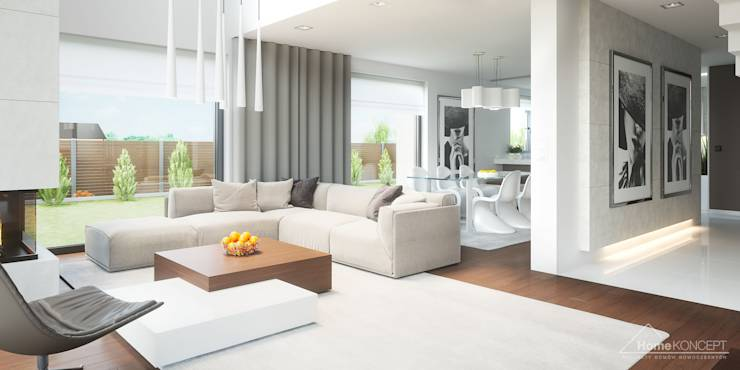 Salas / recibidores de estilo moderno por HomeKONCEPT | Projekty Domów Nowoczesnych
