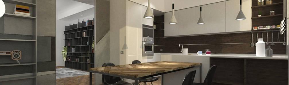 Soggiorno di stile con cucina a vista per un piccolo budget ...