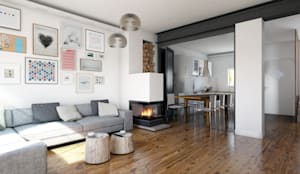Rendering soggiorno con vetrata aperta:  in stile  di 02A Studio