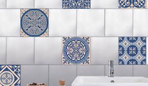 Carrelage de salle de bain - imitation carreaux de ciment bleu par ...