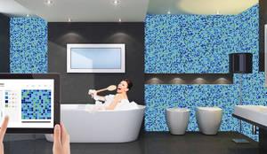 Glasmozaiek Voor Badkamer : Badkamer afwerking : uniek glasmozaiek door mymosaic homify