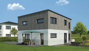 2 Geschosser mit Pultdach und Holzoptik:   von bauen.wiewir GmbH & Co KG