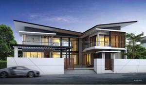แบบบ้านสองชั้น 4 ห้องนอน 5 ห้องน้ำ ArchitectBKK:   by บริษัท อาร์คิเทค บีเคเค จำกัด