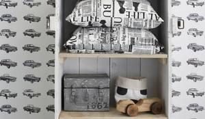 vliesbehang vintage auto's zwart:  Muren & vloeren door ESTAhome.nl